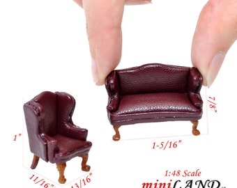 """1:48 1//4/"""" quarter scale Queen Anne Leather Sofa //wing chair set GREEN Dollhouse"""