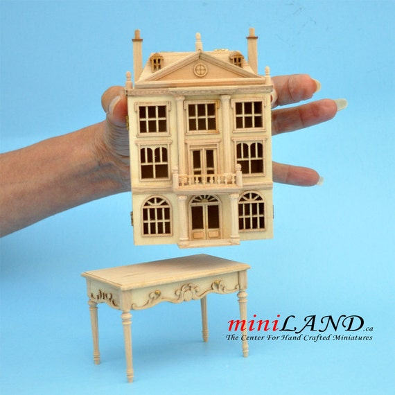 1:144 Georgian DOLLHOUSE FOR DOLLHOUSE WITH TABLE UNFINISHED wood Top quality