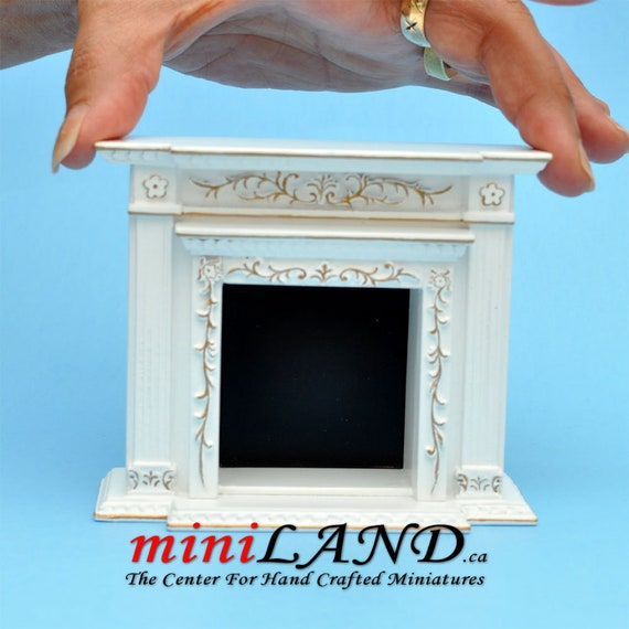 Miniature Dollhouse Walnut Victorian Fireplace New