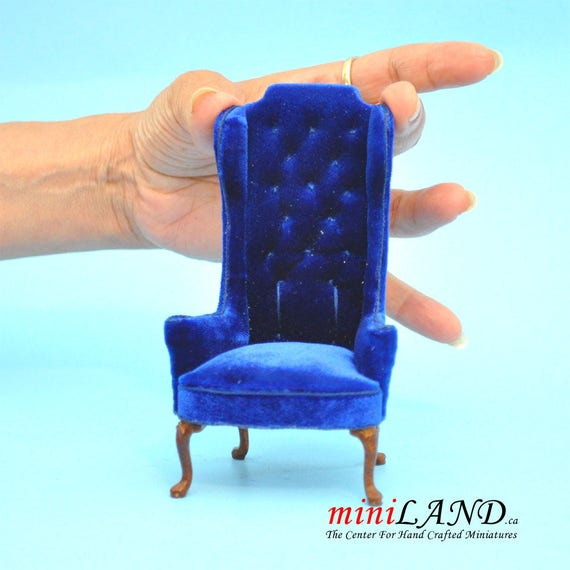 Super Luxurious Elegant Quality Tall Wingback Chair Royal Blue Velvet For Dollhouse Miniature 1 12 Scale Gmtry Best Dining Table And Chair Ideas Images Gmtryco