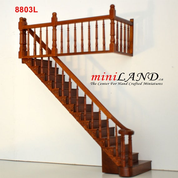 Wooden Staircase Stairs with Left Handrail Pre-Assembled fit Dollhouse