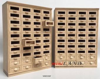 Store haberdasher counter 40 drawers unit Art Deco dollhouse miniature 1:12 scale unfinished 1900-1950 V4033UF