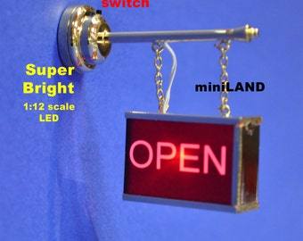 Flashing open store sign Dollhouse miniature roombox light on/off battery LED 1:12 scale
