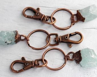 Aquamarine Keychain - March Birthstone - Stone Key Ring - Copper Key Clip -  Crystal Key Ring 4d05536e2