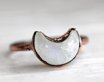 Moon Ring - Moonstone Ring - Moonstone Crescent Ring - Half Moon Ring - Moon Phase Ring - Celestial Jewelry