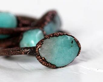 Amazonite Ring - Electroformed Copper Ring - Spring Jewelry - Sky Blue Stacking Ring