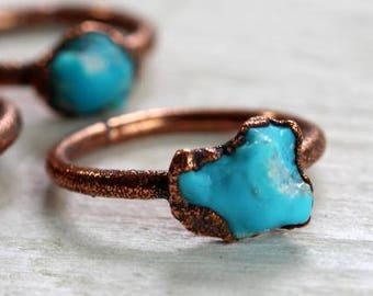 Turquoise Ring - Real Turquoise Jewelry - December Birthstone Ring - Kingman Turquoise - Copper Ring