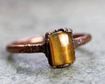 Tiger Eye Ring - Small Stone Ring - Electroformed Copper Jewelry