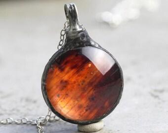 Lily Necklace - Botanical Jewelry - Flower Petal Pendant - Soldered Glass Terrarium - Bridesmaid Necklace