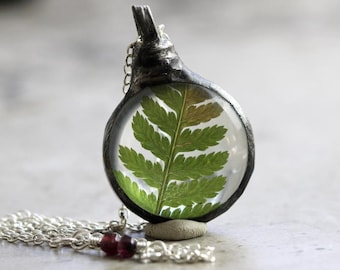 Fern Necklace - Botanical Jewelry - Soldered Glass Terrarium Pendant