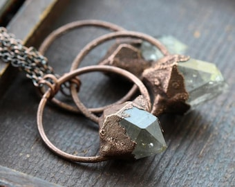 Raw Crystal Necklace - Herkimer Diamond Pendant -  Electroformed Crystal Jewelry