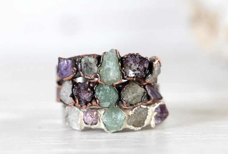 Multi Stone Crystal and Copper Ring Meditation Jewelry Anti Stress Stones Anti Anxiety Stone Ring