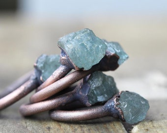 Aquamarine Ring -  Electroformed Copper Ring - Raw Crystal Ring - Chunky Stone Ring - Pisces Jewelry