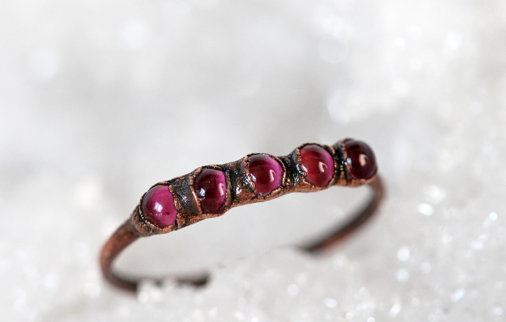 Libra Ring Copper Ring October Birthstone Multi Stone Silver Ring Pink Crystal Ring Pink Tourmaline Ring
