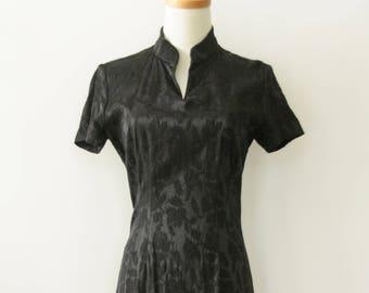 90s Cheongsam. Black 90s Chinese dress. Summer black dress. Long black dress. Mandarin collar Asian dress. 90s Black Floral dress. Witchy