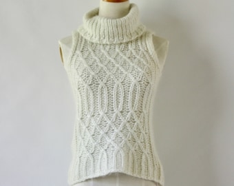 Cream mohair fluffy knit sweater. Hand knit turtle neck pullover. Cream sleeveless cable knit sweater. Fuzzy sweater. Cream knit tank