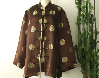 Silk Chinese jacket. Brown gold Chinese coat. Silk Mandarin jacket. Gold silk Asian jacket