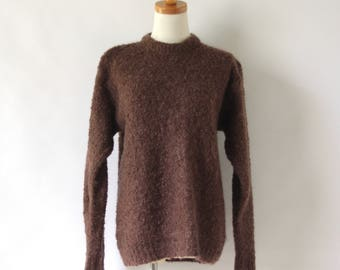 Brown fluffy knit sweater. Hand knit pullover. Brown fuzzy sweater. Textured chunky sweater. Wool pullover. Oversized knitted sweater