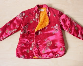 Childs Chinese jacket. Red Chinese babies coat. Padded Asian jacket. Oriental girls jacket. Red jacquard satin jacket. Floral Chinese coat
