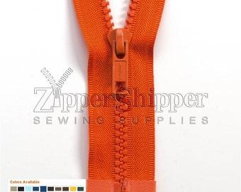 Molded Plastic Zipper, Separating Zipper - 1 Zipper - #5 For Jackets - Dozens of Colors - Lengths 20, 22, 24, 27, 30, 36 Inches