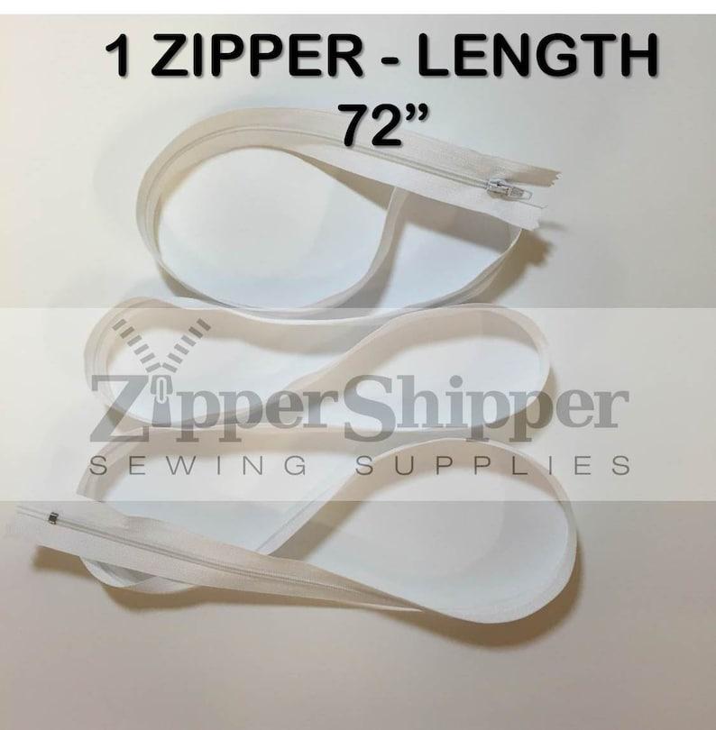 1 Piece 6 feet Duvet Zipper Upholstery Long #3 Nylon Coil Zipper For Cushions 72 Inch White Zipper Bedding More