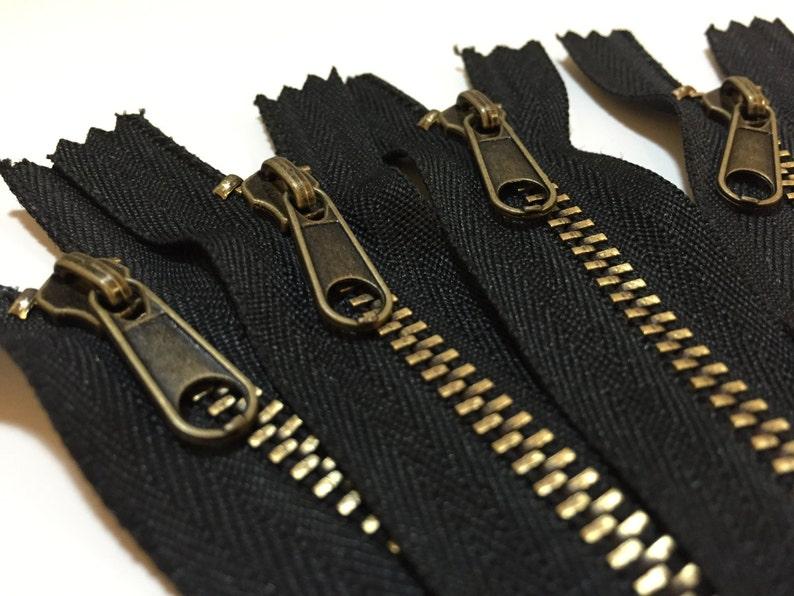 9 Zipper or 14 Zipper Closed-End 1 Piece #4 Antique Brass Teeth Nonlock Pull Black Zipper Or Brown Zipper Metal Zipper For Handbags