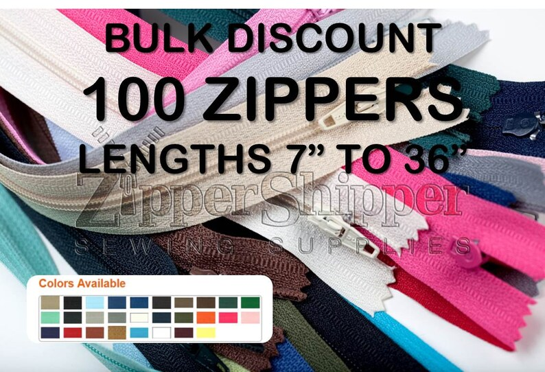7 To 36 Zippers 26 Colors Wholesale Zippers 16 100 Bulk Zippers 20 Other Lengths Include 9 12 24 and 36 Zippers 22 14