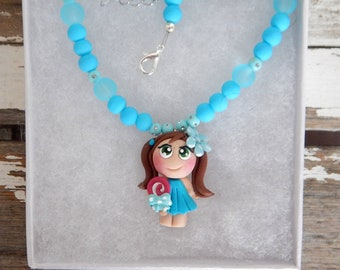 Girl necklace, pacifier necklace, fimo, polymer clay, girl gift, little collection pendant necklace necklace, girlfriend necklace, made in Quebec