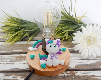 Bedside lamp, table lamp, baby lamp, night light, unicorn lamp, handmade unicorn, rainbow, girl's room lamp, baby room lamp