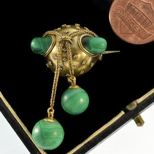 Victorian Etruscan Revival Persian Turquoise and Coral Brooch Pin Circa 1850s