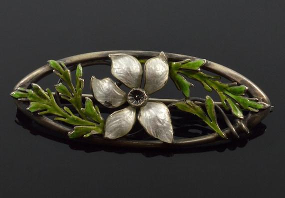 Antique Art Nouveau Guilloche Enamel Sterling Pan… - image 2