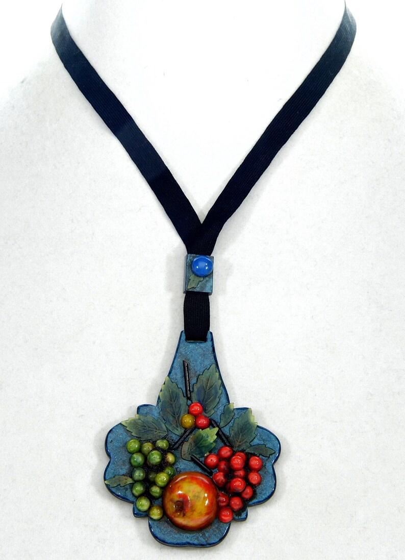 Antique Art Deco French Celluloid Fruit Salad Pendant Necklace C.1930