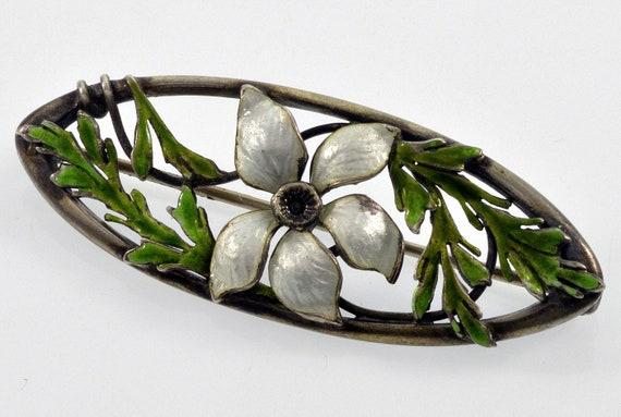 Antique Art Nouveau Guilloche Enamel Sterling Pan… - image 1