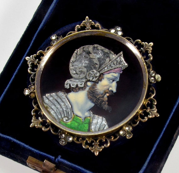 Antique Victorian French Limoges Enamel Zeus Cameo
