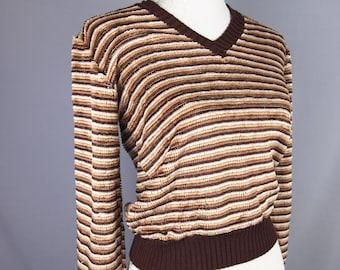 Vintage sweater - retro jumper - brow sweater - pullover - indie - stripy sweater - mod - 70s - chenille jumper - grunge - geek chic - 90s