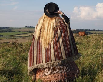 Italian knit cape - wool poncho - 70s - stripy cardigan - retro sweater - knitwear - winter woolies - Christmas gift - cardy - boho sweater