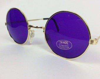 5d587670958 Round sunglasses - purple glasses - 70s sunglasses - granny glasses - 90s  sunglasses - tinted glasses - Deadstock sunglasses