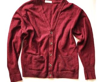 Parker Alpaca Wool Minimalist Vintage /'60s. Button-Front Basics Preppy SALE  Size ML  BURGUNDY WOOL Cardigan  Maroon
