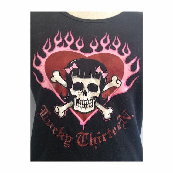 Lucky 13 t shirt - rockabilly shirt - skull t shir