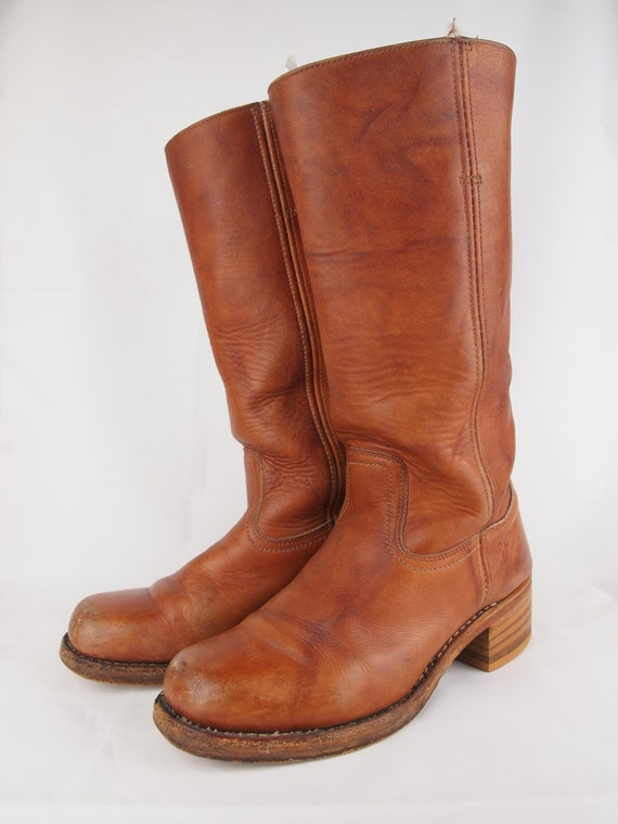 798f567ee10e1 Vintage Frye boots - tan leather Frye boots - tall boots - vintage boots -  brown leather boots - boho - 70s style - hippie - cowboy boots