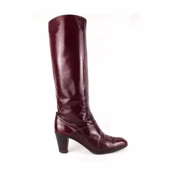 Jean Bady oxblood leather boots - tall boots - re… - image 2