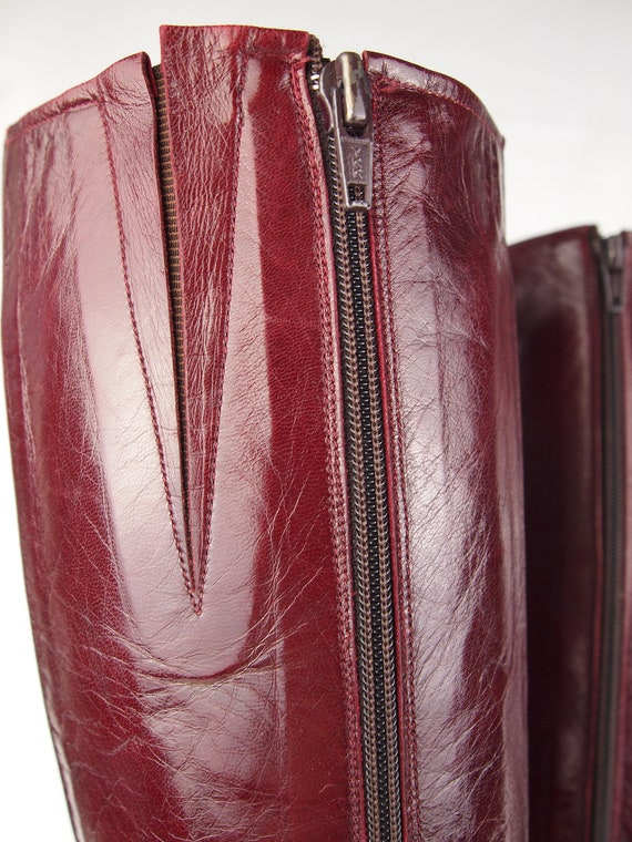Jean Bady oxblood leather boots - tall boots - re… - image 9