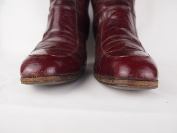 Jean Bady oxblood leather boots - tall boots - re… - image 7