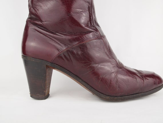 Jean Bady oxblood leather boots - tall boots - re… - image 5