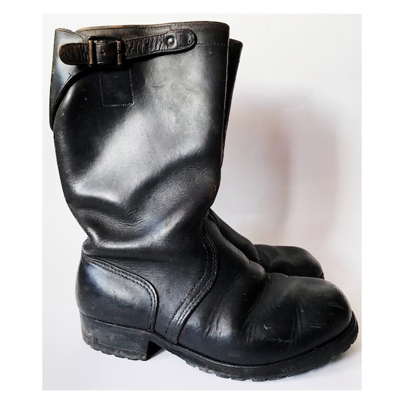 Black engineer boots - work boots - black leather