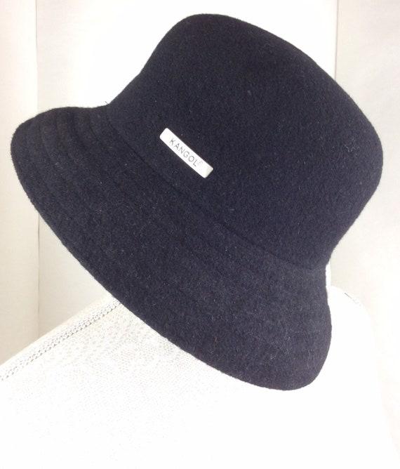 Kangol hat - 90s - black wool hat - porkpie hat -