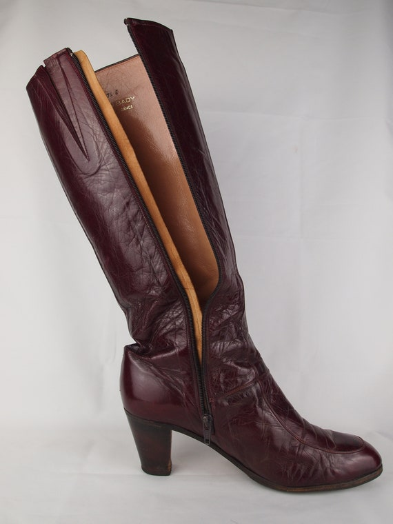 Jean Bady oxblood leather boots - tall boots - re… - image 10