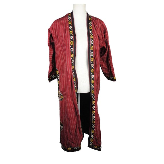 Red silk jacket - duster - embroidered coat - boho