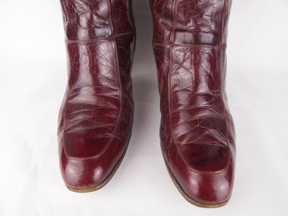 Jean Bady oxblood leather boots - tall boots - re… - image 6