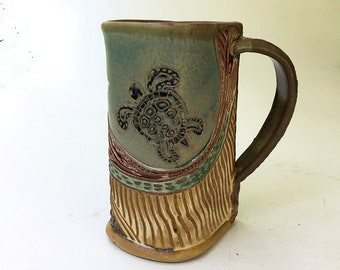 Sea Turtle Pottery Mug Coffee Cup Handmade Stoneware Tableware Microwave and Dishwasher safe 16 oz
